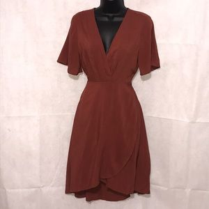 Lush Wrap Dress in Rust Color Size M—WD1